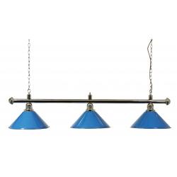 Lampa modrá chromovaná 3 stínidla 150cm