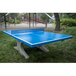 Síťka na venkovní betonový stůl, celokovová modrá