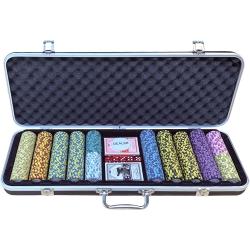 Pokerový kufřík De Luxe set 500, 13,5 gr, hodnoty