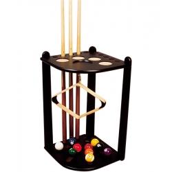 Rohový dřevěný stojan na 10 tág - černý
